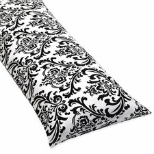 Isabella Hot Pink, Black and White Collection Body Pillow Case  - Damask Print