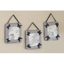 3 Piece Black Toile Hanging Art Set