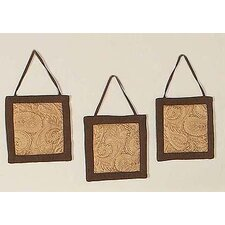 3 Piece Camel Paisley Hanging Art Set