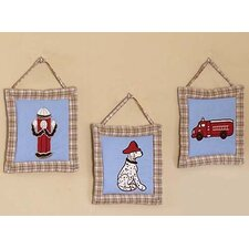 3 Piece Fire Truck Hanging Art Set