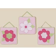 3 Piece Flower Pink and Green Wall Hanging Set