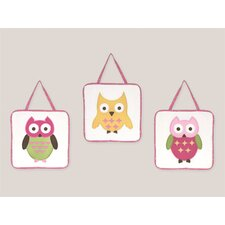 3 Piece Happy Owl Wall Hanging Art Set