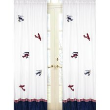 Vintage Aviator Cotton Curtain Panel Pair