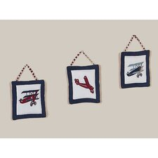 3 Piece Vintage Aviator Collection Wall Hanging Set
