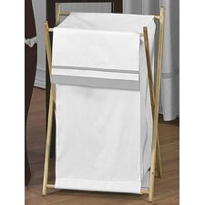 Hotel White and Gray Laundry Hamper