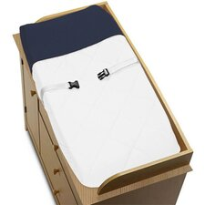 Hotel White and Navy Collection Changing Pad Cover