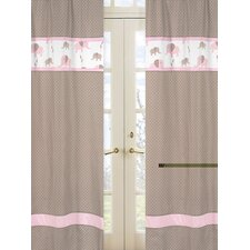 Elephant Pink Rod Pocket Curtain Panel (Set of 2)
