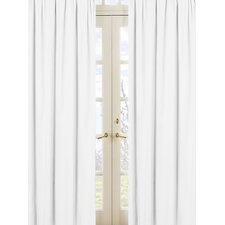 Minky Dot White Rod Pocket Curtain Panel (Set of 2)