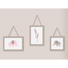 <strong>Sweet Jojo Designs</strong> Elephant Pink Collection Wall Hangings 3 Piece Set