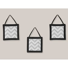 3 Piece Black and Gray Zig Zag Wall Hanging Art