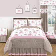 Pink and Taupe Mod Elephant Bedding Collection