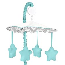 Zig Zag Turquoise and Gray Collection Musical Mobile
