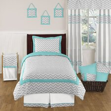 Zig Zag Turquoise and Gray 4 Piece Twin Bedding Collection