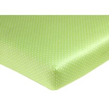 Hooty Lime and White Fitted Crib Sheet