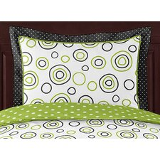 Lime and Black Spirodot Standard Pillow Sham