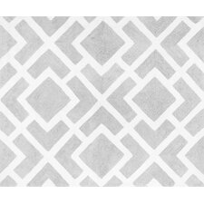 Diamond Gray and White Floor Rug