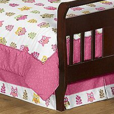 Owl Pink Toddler Bed Skirt