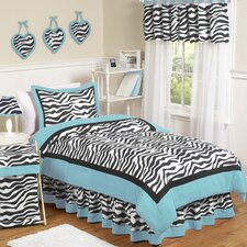 Zebra Turquoise Collection 4pc Twin Bedding Set