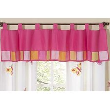 Butterfly Cotton Tab Top Tailored Curtain Valance