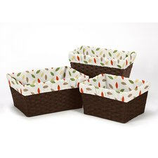 3 Piece Forest Friends Leaf Print Basket Liner Set