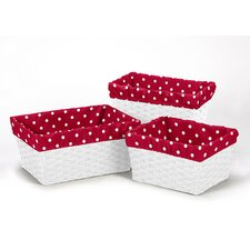 <strong>Sweet Jojo Designs</strong> 3 Piece Little Ladybug Polka Dot Print Basket Liner Set