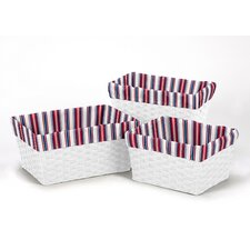 3 Piece Nautical Stripe Print Basket Liner Set