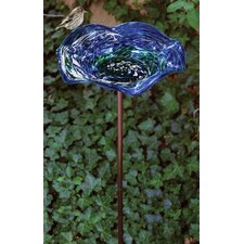 Blue Swirl Illuminaries Birdbath with Stand (Set of 4)