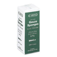 "Caring Woven Gauze Sponges, 2"" Wide, Nonsterile, 8-Ply, 200 Sponges/Pack"