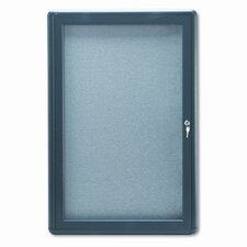 Enclosed Fabric Covered Cork Bulletin Board, 24 x 36, Gray, Aluminum Frame