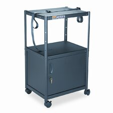5-in-1 Adjustable-Height AV Cart with Cabinet, 24 x 18 x 26 to 42, Gray