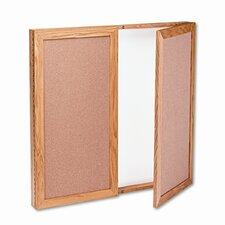 Conference Cabinet, Cork/Dry-Erase Melamine, 36 x 36, White/Oak Frame
