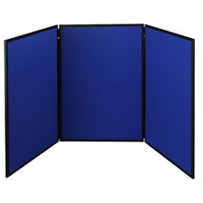 <strong>Quartet®</strong> ShowIt Three-Panel Display System, Fabric, Blue/Gray, Black PVC Frame