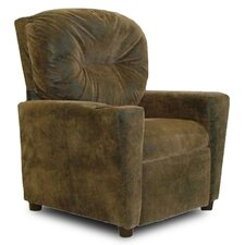 Cup Holder Distressed Brown Bomber Leather Like Kid's' Recliner