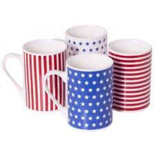 4 Piece 9 oz. Porcelain Mug Set in Star and Stripes