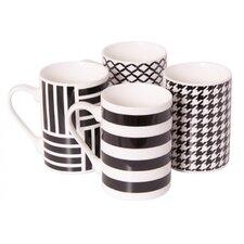 4 Piece 9 oz. Porcelain Mug Set in Checkmate