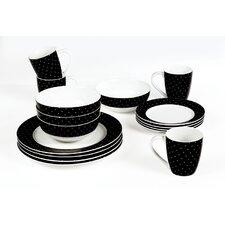 Twinkle 16 Piece Porcelain Dinner Set in Black