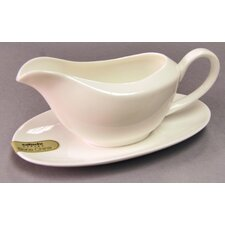 ICE Bone China Gravy Boat and Saucer in White