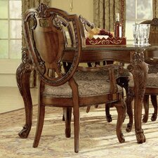 Old World Shield Back Arm Chair (Set of 2)