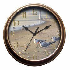 Seagull Wall Clock in Distressed Antique Bronze