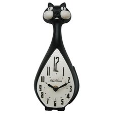 Black Cat Wall Clock in Black and White