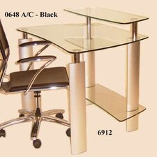 <strong>Chintaly Imports</strong> Tempered Glass Computer Desk with Metal Legs
