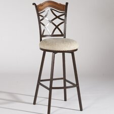 Memory Return Swivel Barstool with Wood Accent in Autumn Rust