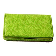 On the Go Pebble Grain Magnetic Business Card Case in Lime