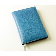<strong>Budd Leather</strong> On the Go Pebble Grain Small Address Book in Blue