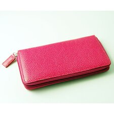 On the Go Pebble Grain Large Zip Around Wallet