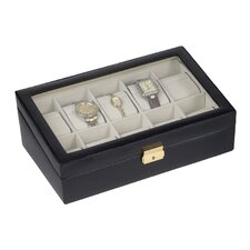 Men's 10 Watch Box with Glass Top in Black