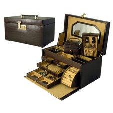 <strong>Budd Leather</strong> Croco Grain Jewelry Boxes Small Croco Calf Treasure Chest in Brown