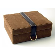 Faux Suede and Leather Jewelry Box with Concealed Compartment in Brown