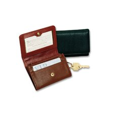 Classic Leather Goods Change Purse with Key Ring in Tan