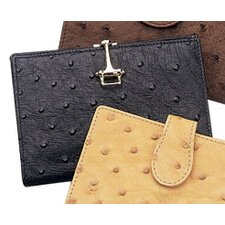 <strong>Budd Leather</strong> European Bidente Genuine Ostrich French Purse in Black